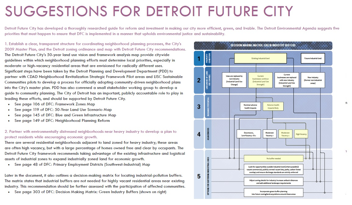 Detroit Environmental Agenda suggestions to Detroit Future City